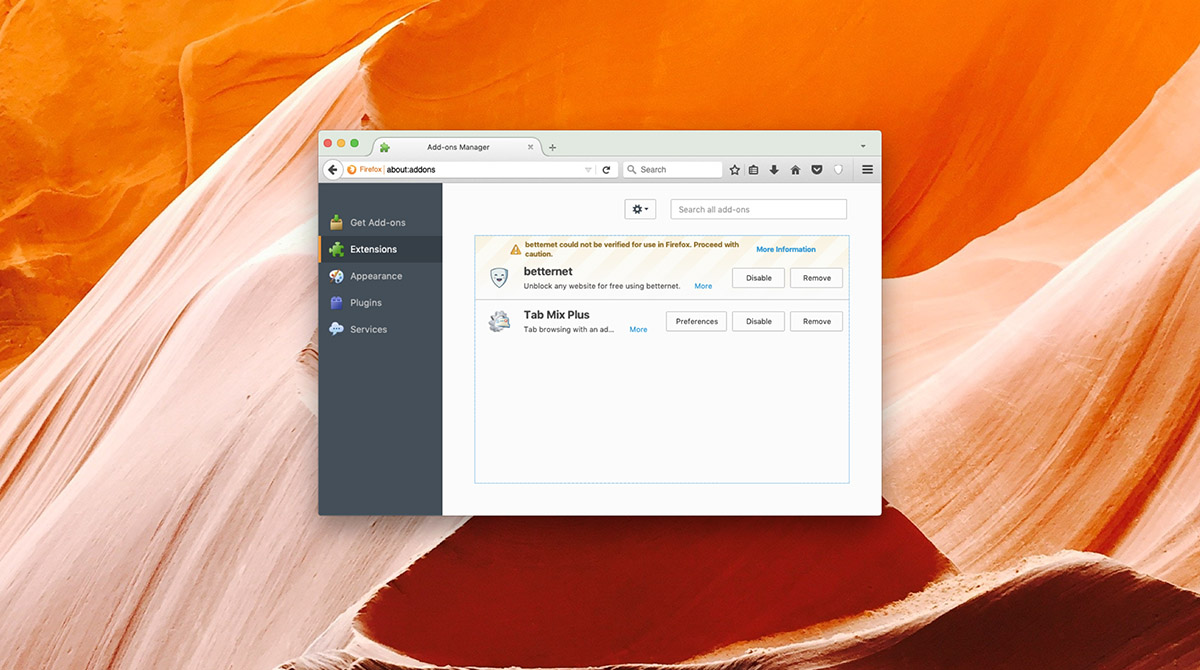 How to remove Firefox add-ons