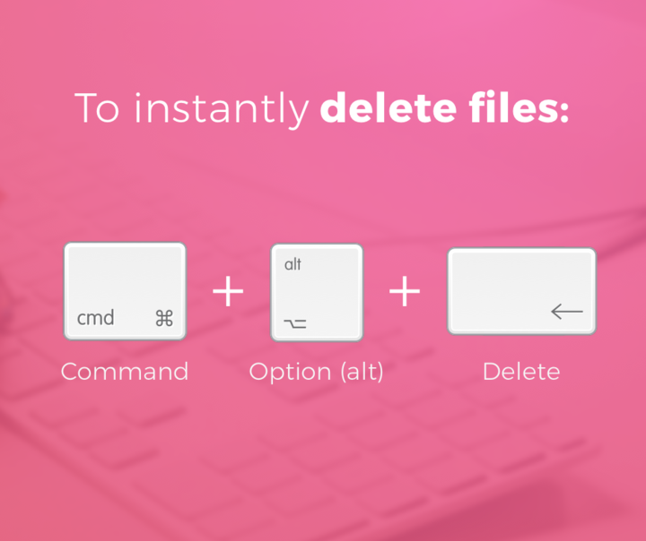 Delete files and folders on MacBook via the shortcut