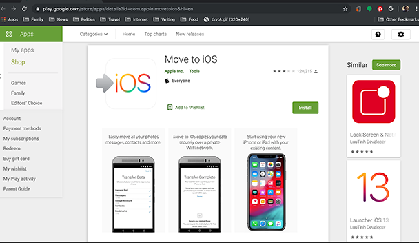 Screenshot: To switch from Android to iOS, get the Move to iOS app