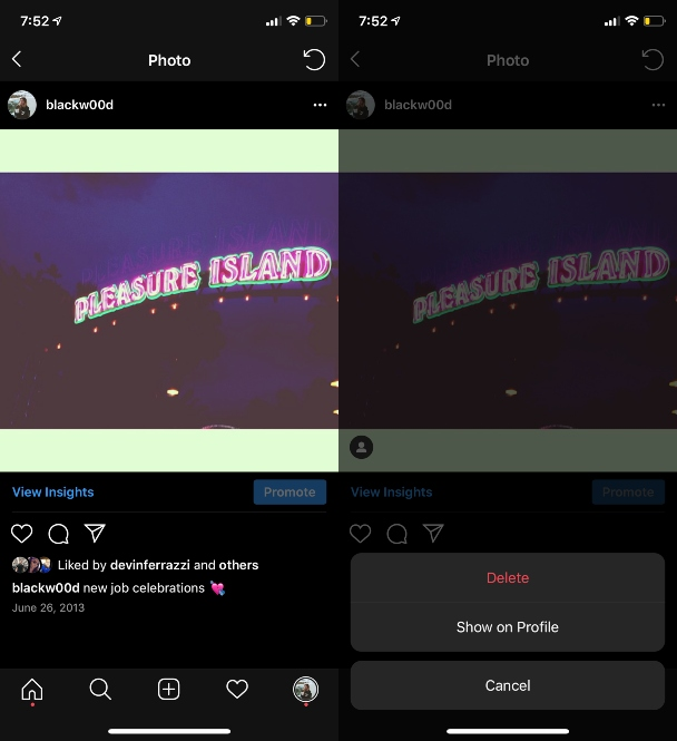 Screenshots: Deleting vs archiving Instagram photos
