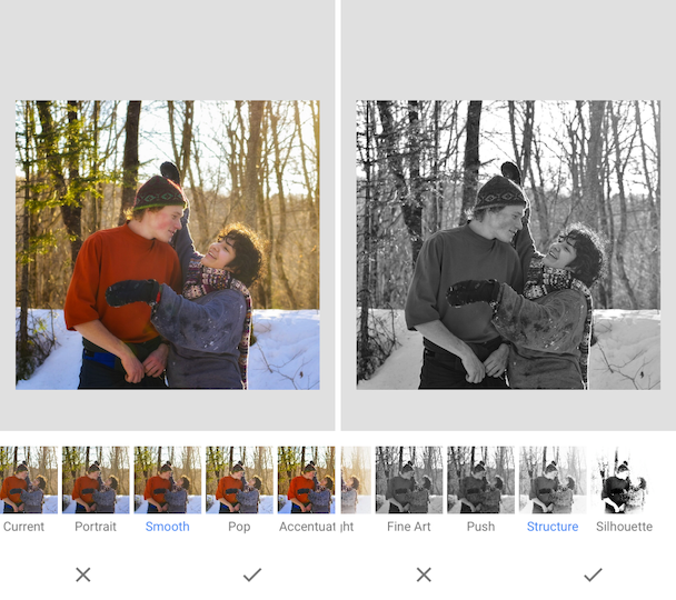 Examples of Snapseed filters