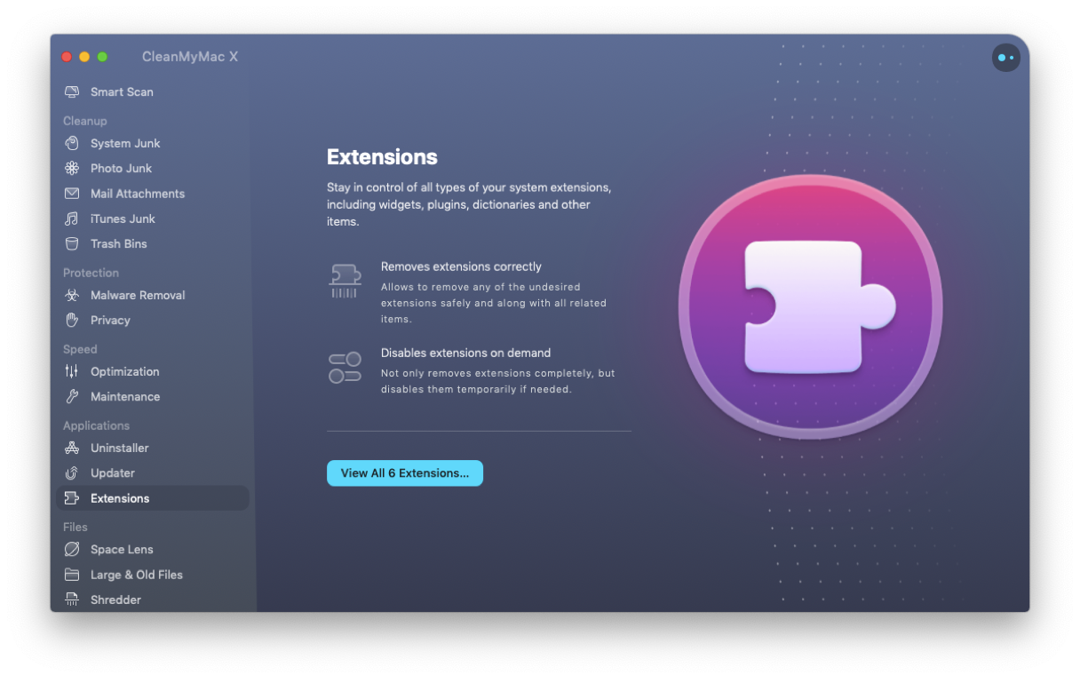 Deleting browser extensions with CleanMyMac X
