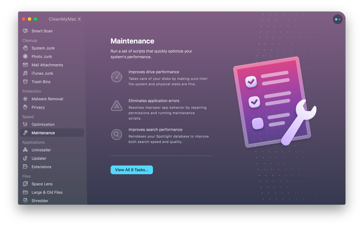 CleanMyMac - Maintenance module