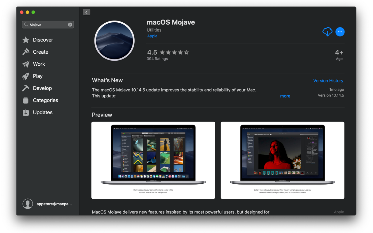 macOS Mojave in AppStore