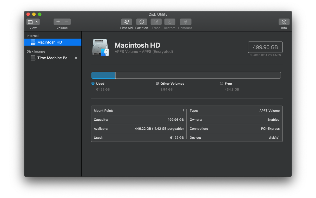 Mac disk utility - System information