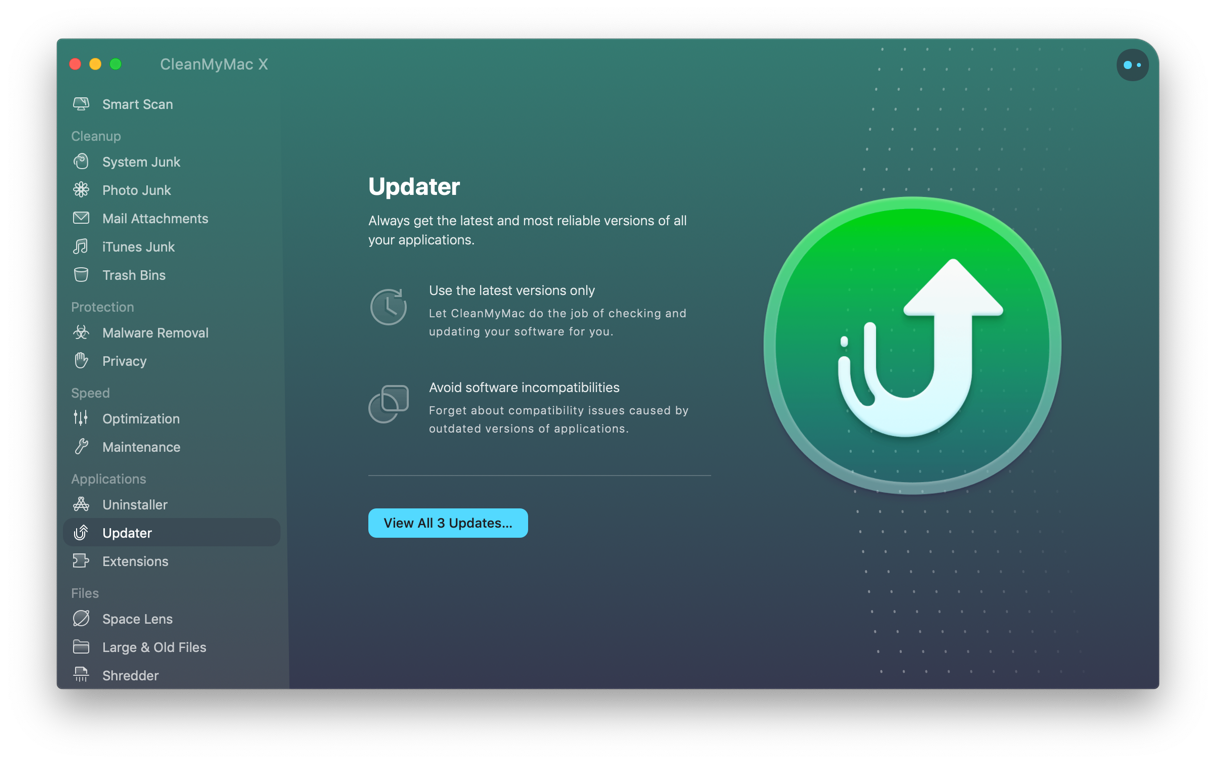 Update your apps with CleanMyMac Updater module