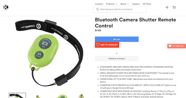 CamKix, a Bluetooth camera shutter for iPhone