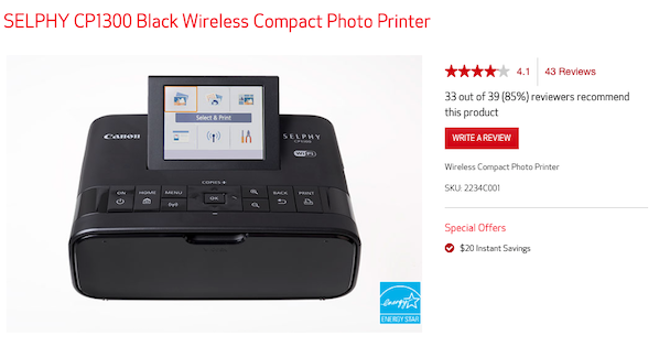 The Canon Selphy compact printer, suitable for iPhone