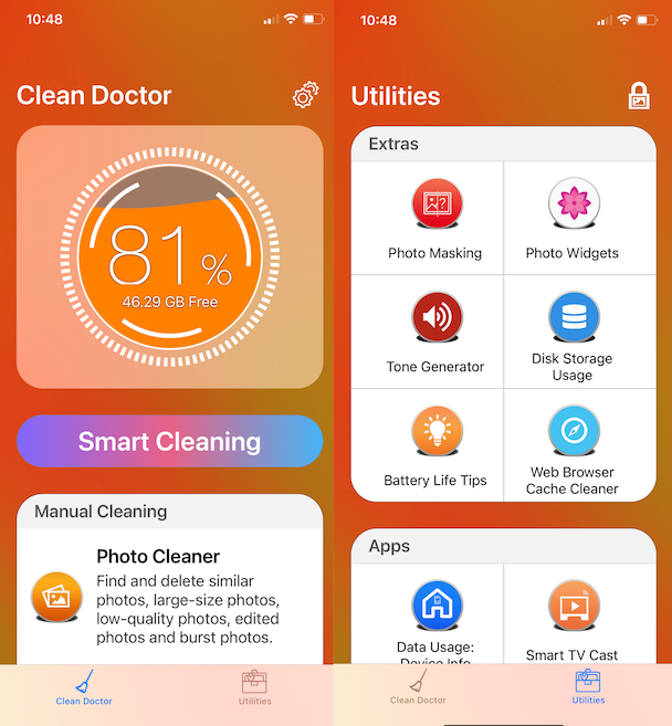 Screenshots of Clean Doctor, a great clean iPhone app