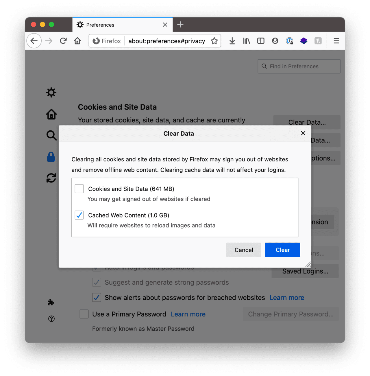 How to clear cache in Firefox manually
