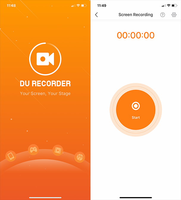 Screenshots of DU Record, a screen video app for iPhone