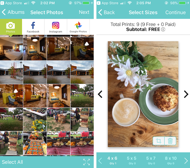 Screenshots of Free Prints, an app to print photos from your iPhone