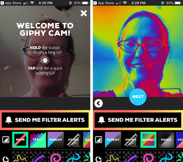 Screenshots of Giphy Cam, a GIF camera app for iPhone