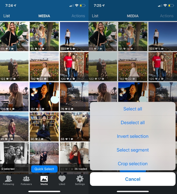 Screenshots: How to delete all your Instagram posts in bulk