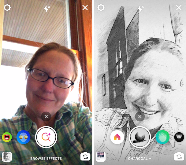 Screenshots: How to take a photo with a sketch filter in Stories