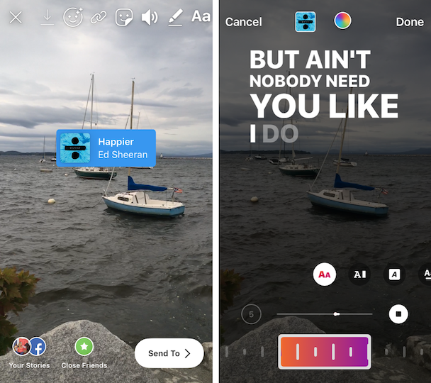 Screenshots: How to add music to Instagram Story videos