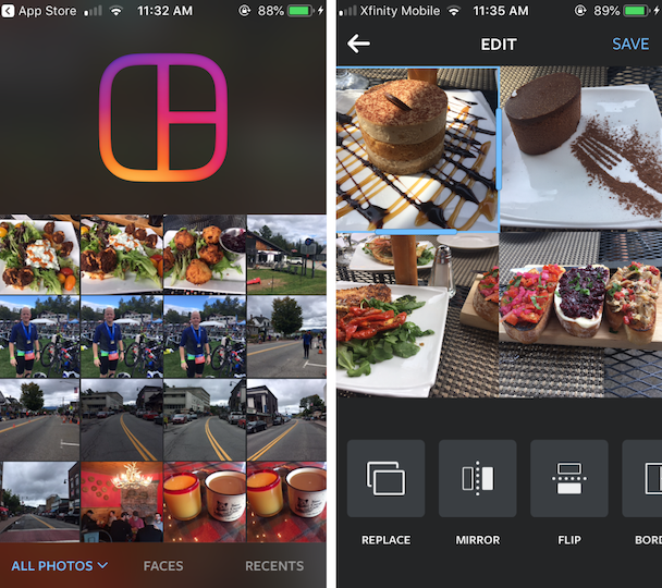 Screenshots of Layout, a photo collage app by Instagram