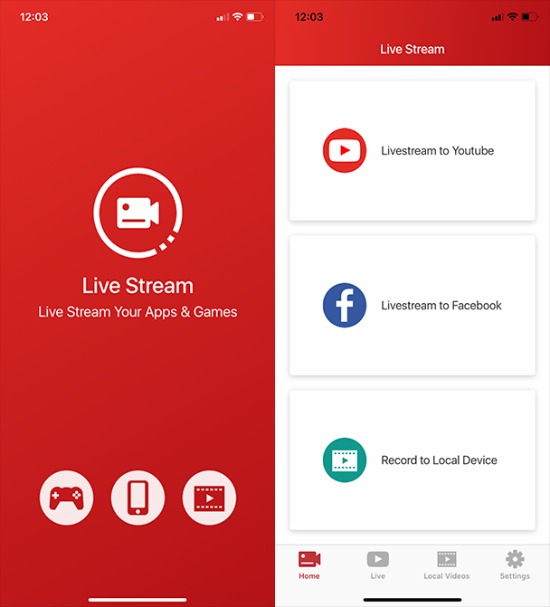 Screenshots of Live Stream, an app for screen recording and live streaming