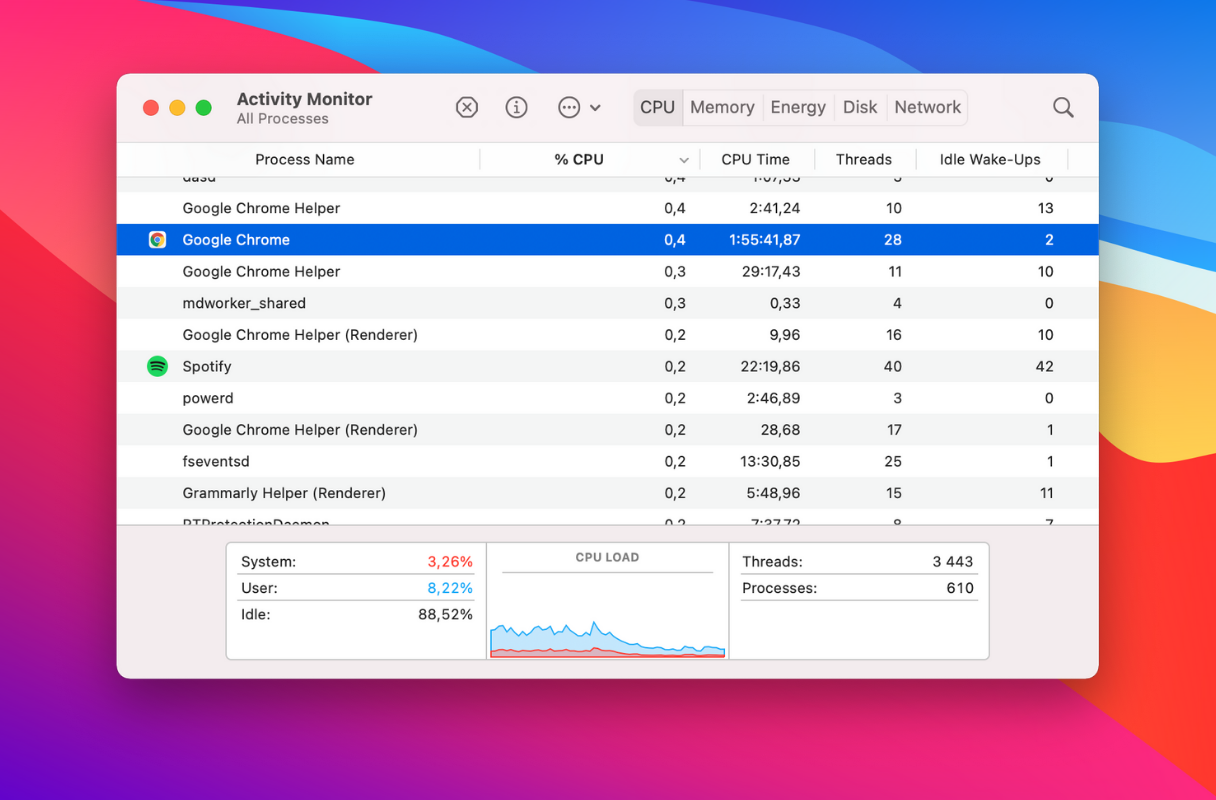 Troubleshoot the spinning beach ball: launch Activity monitor CPU tab