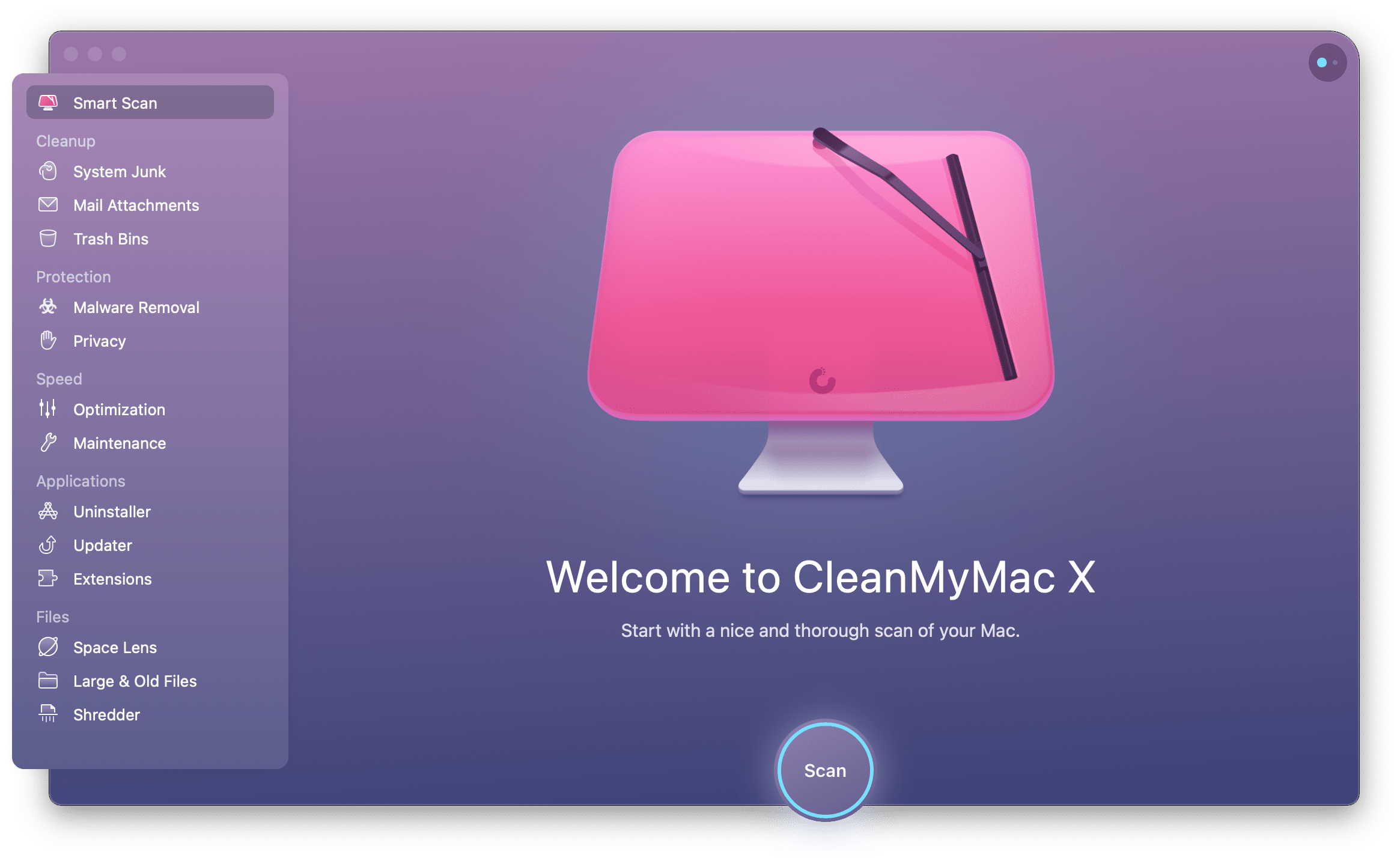 Smart Scan feature with CleanMyMac