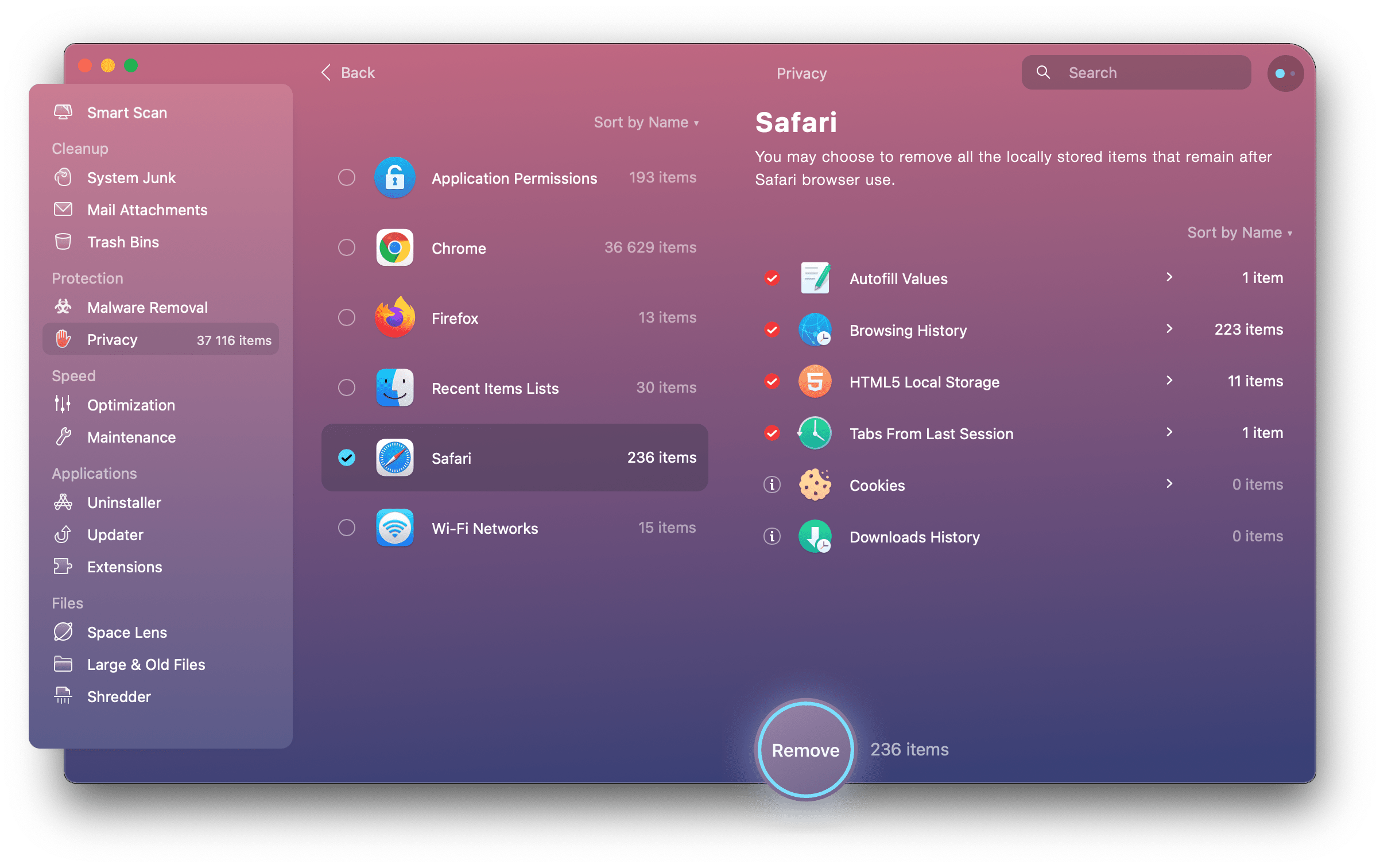 Go to Privacy in CleanMyMac