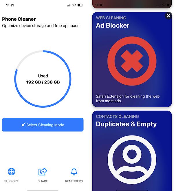 Screenshots of Phone Cleaner, best iPhone memory cleaner