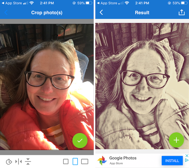 Screenshots of PhotoLab, one of the best selfie editors for iPhone