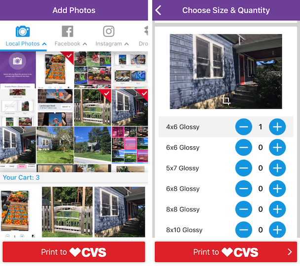 Screenshots of Photo Print Now, the iPhone photo printing app by CVS
