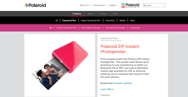Polaroid Zip mini photo printer for iPhone on the official website