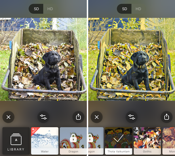 Screenshots: How to convert a photo into a drawing using Prisma