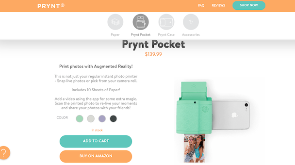 The Prynt Pocket iPhone photo printer