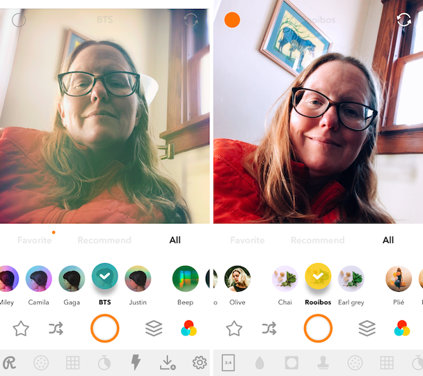 Screenshots of Retrica, one of the best selfie camera apps
