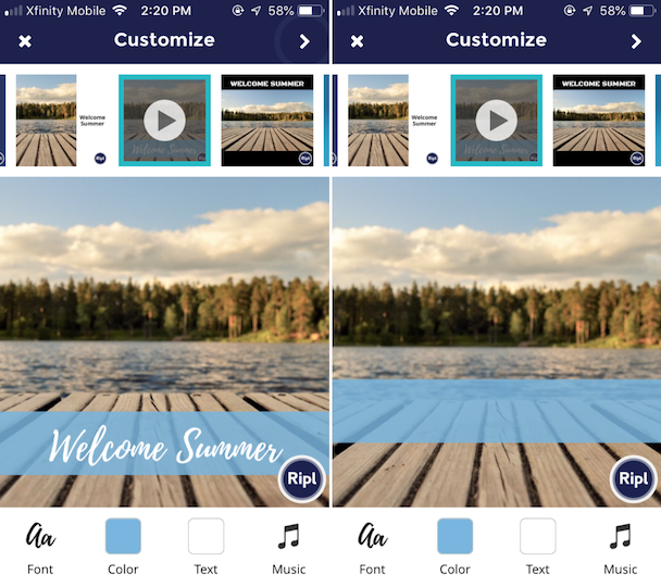 Instagram video post templates from Ripl