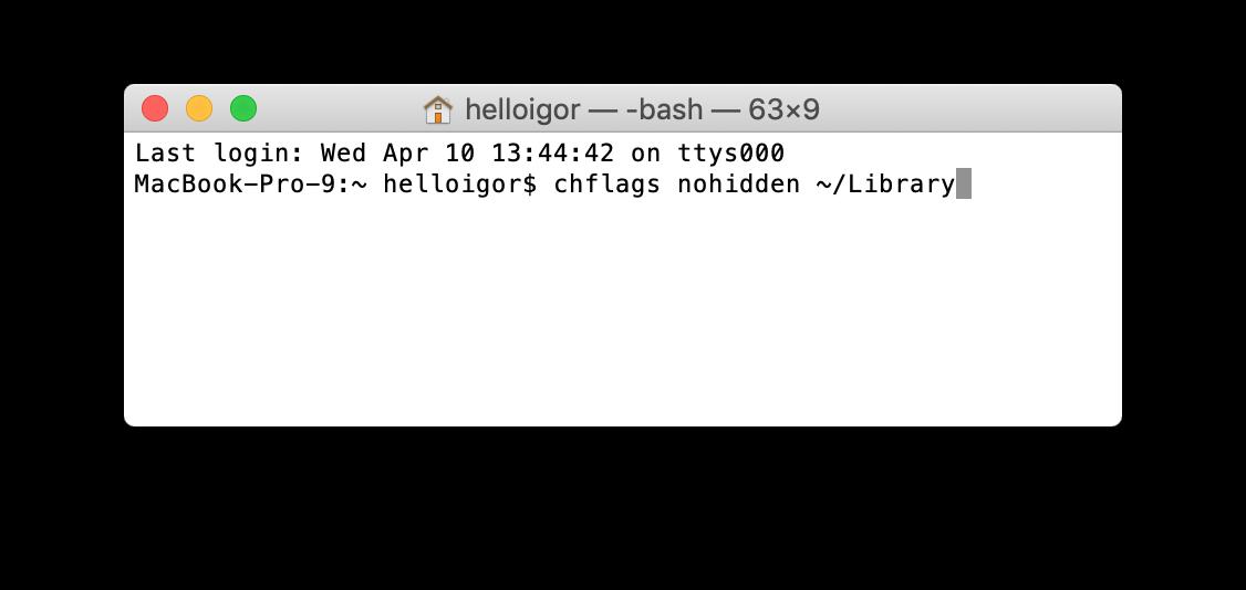 Access Mac private Library folder