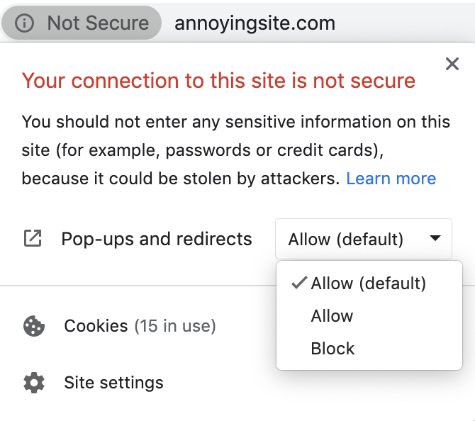 Stop site-specific notifications in Chrome