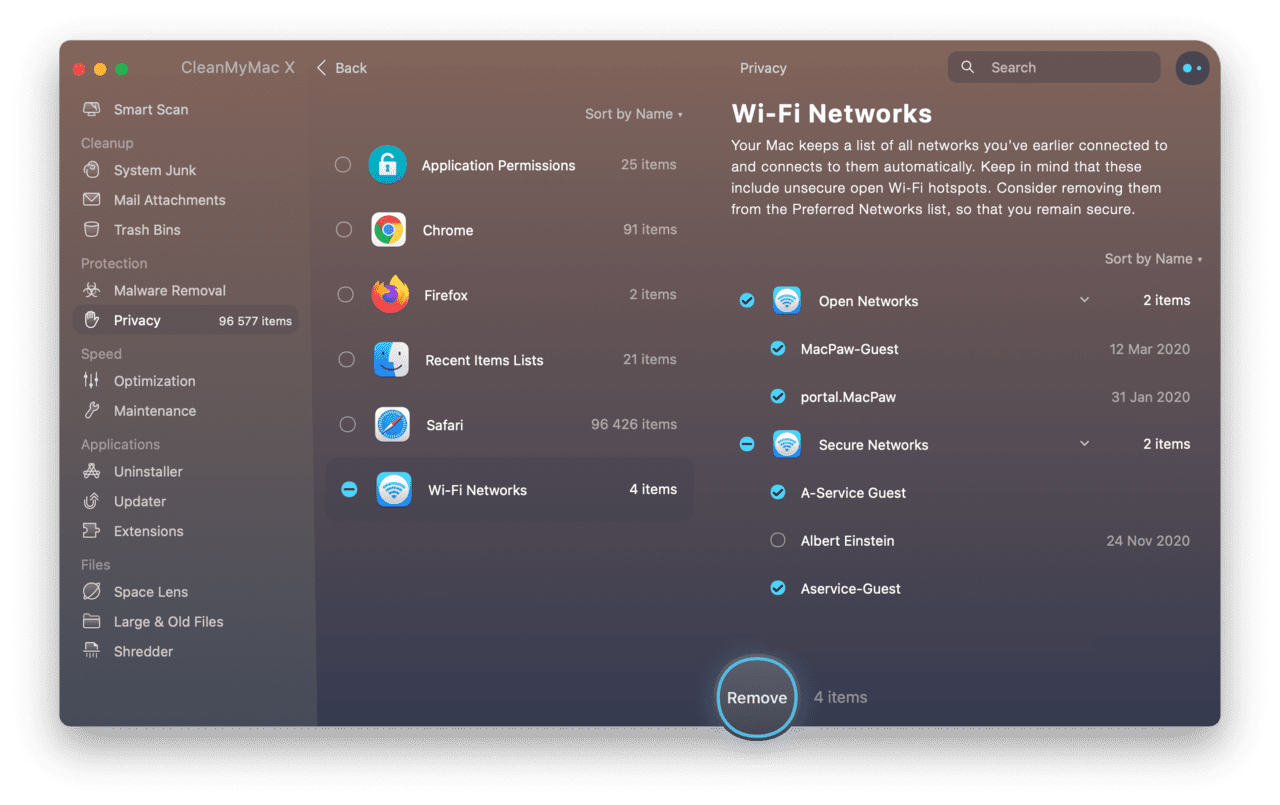 Forget a Wi-Fi network on Mac with CleanMyMac