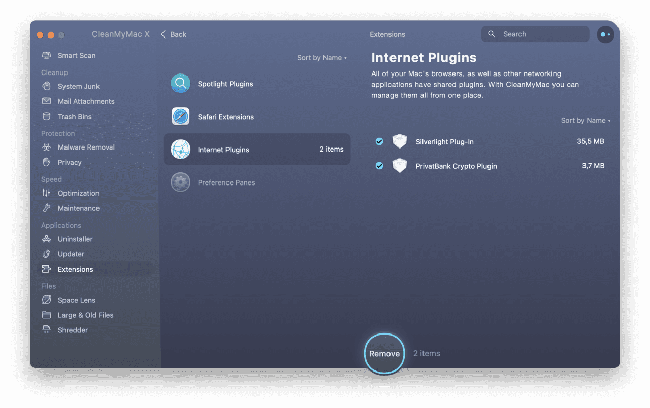 Disable internet plugins quickly with CleanMyMac X