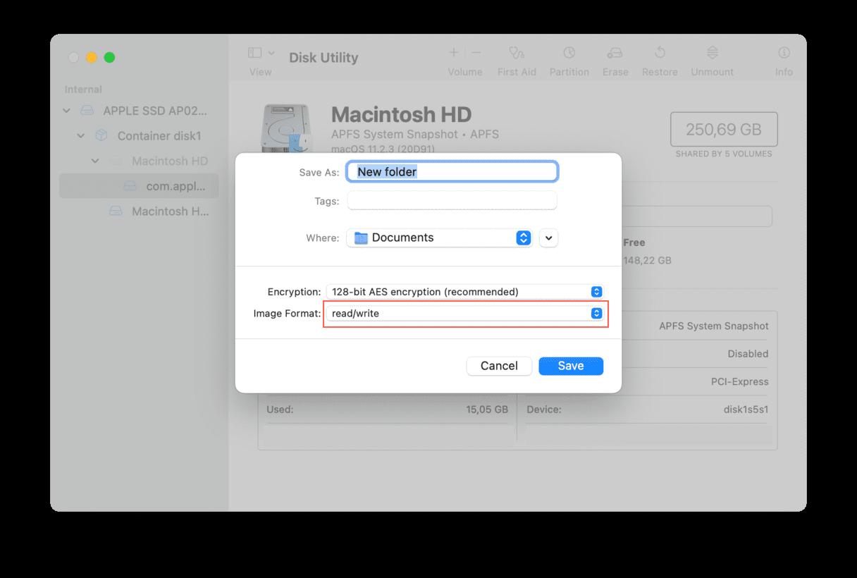 Image Format menu
