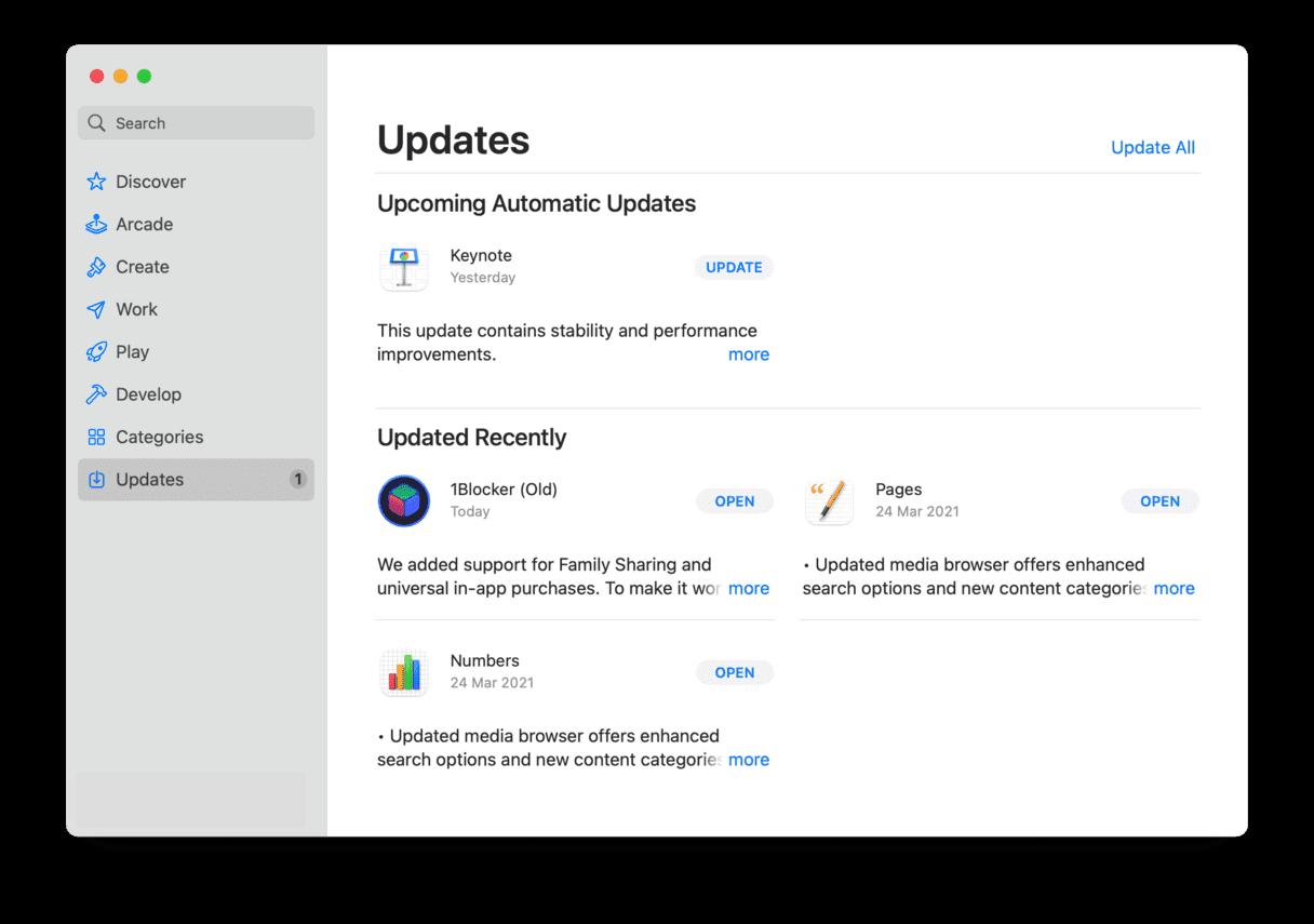 AppStore Software Update Mac updater