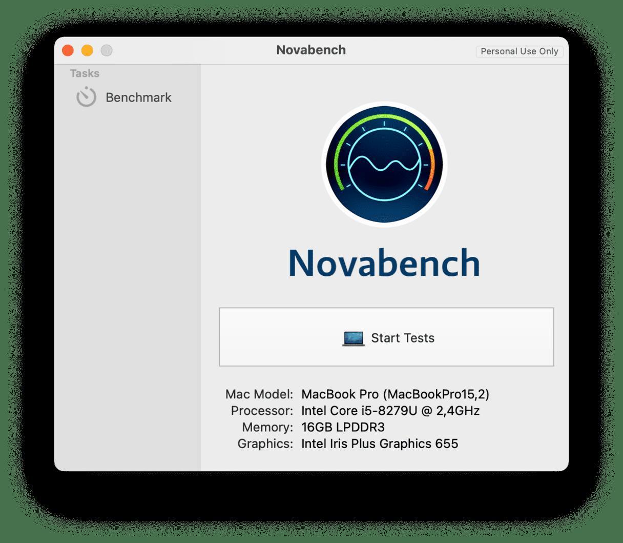 Novabench app interface