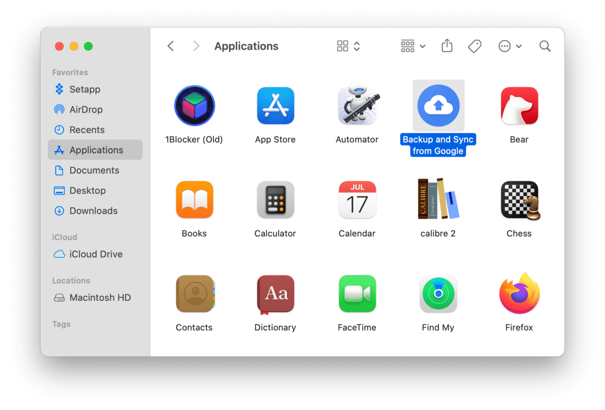 locate the Backup and Sync app