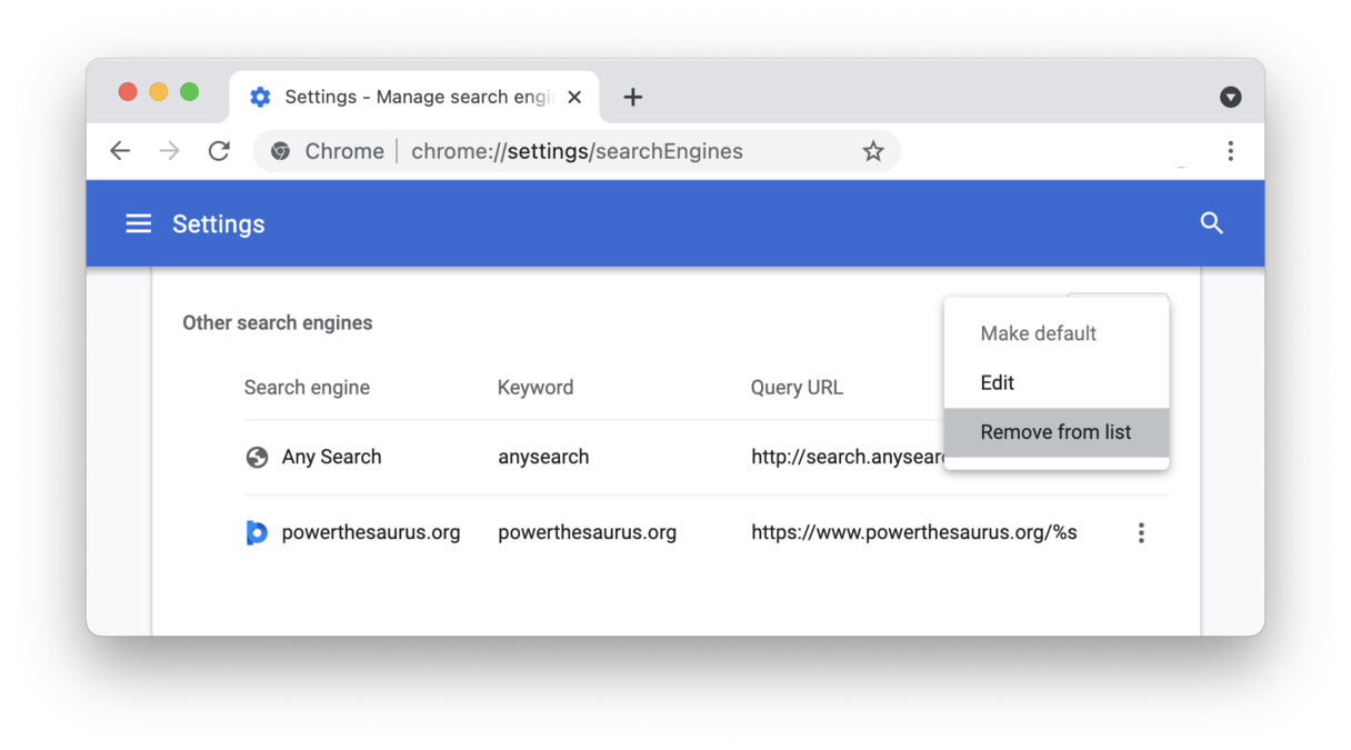 Remove Any Search from Chrome