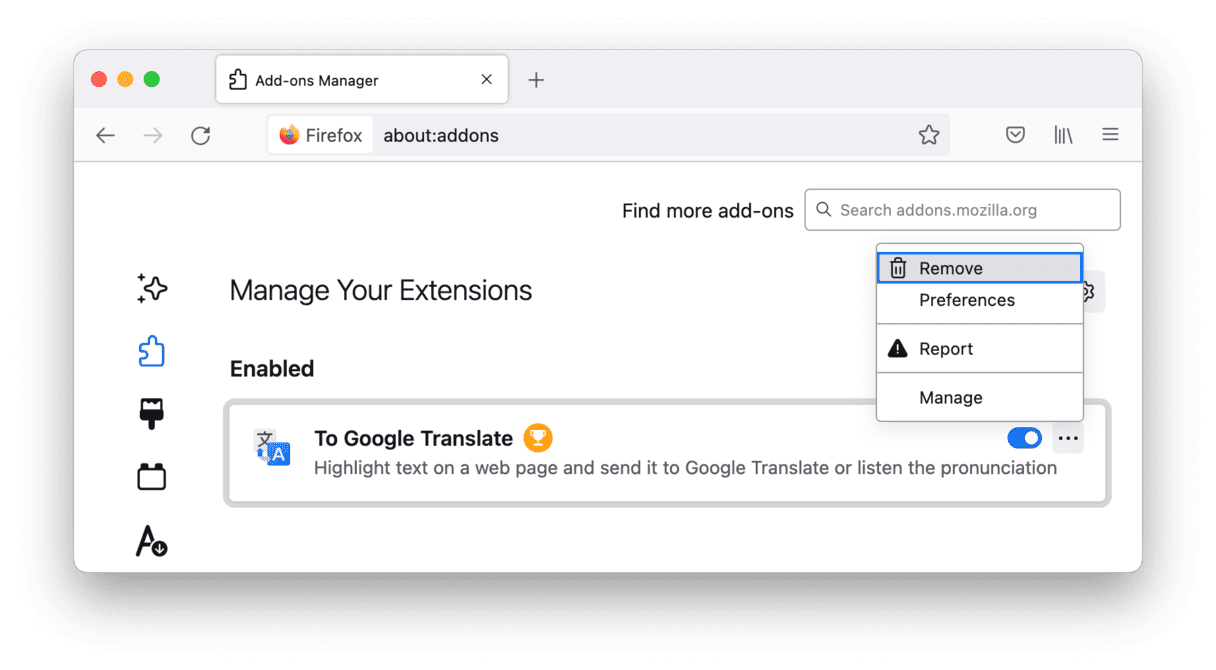 Delete extensions in Firefox