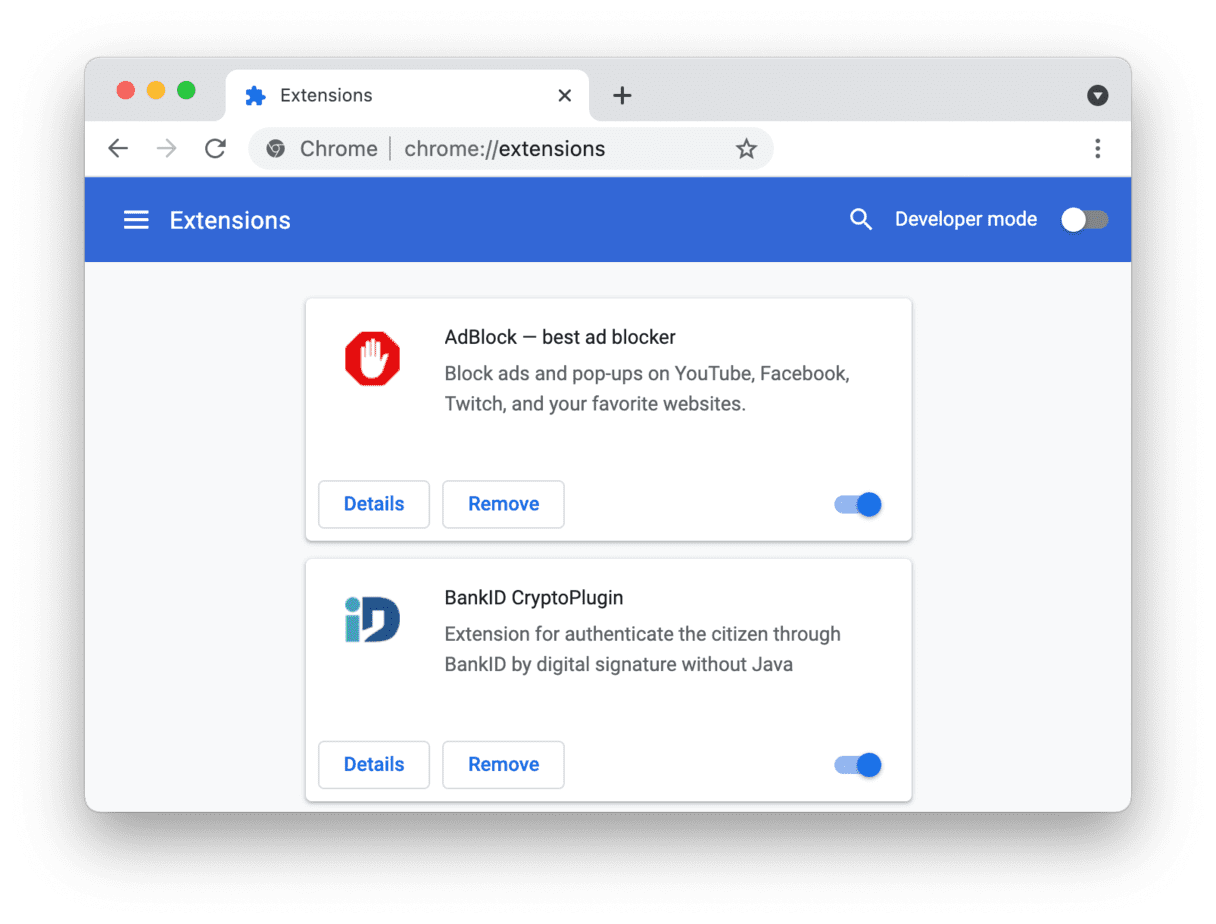 remove Chrome extensions