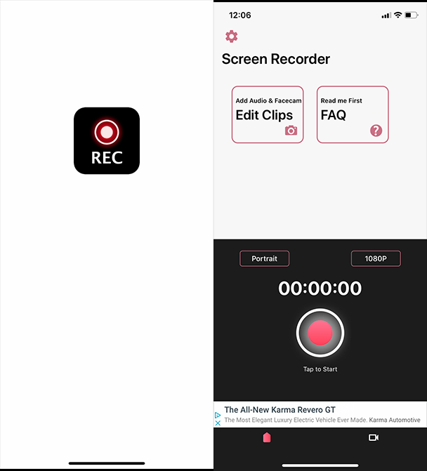 Screenshots of Screen Recorder, a screen and face recorder for iPhone