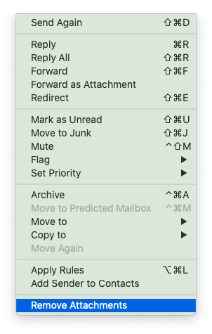 How to delete Mail attachments in messages