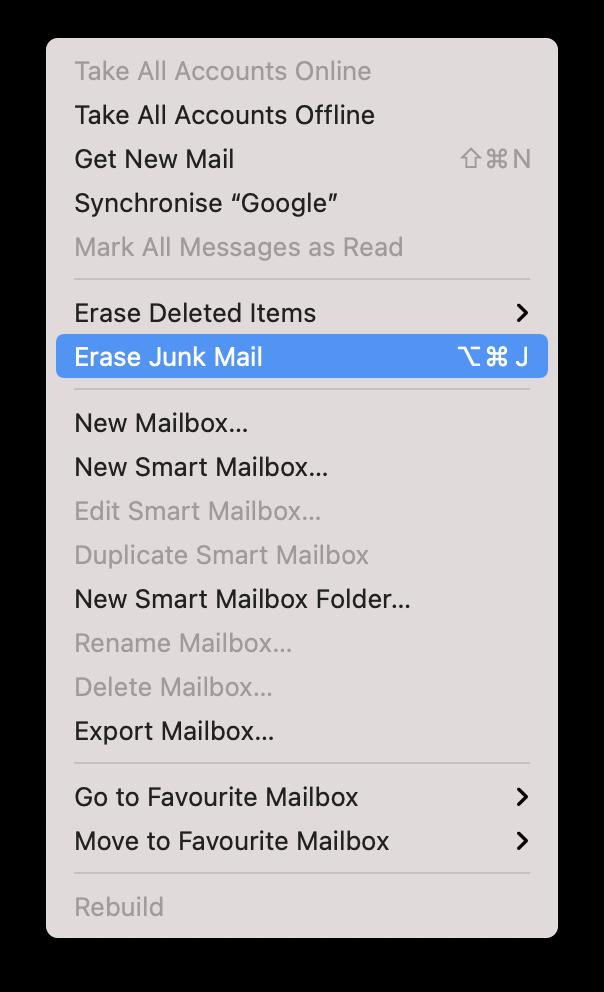 Clear Mail Storage on Mac