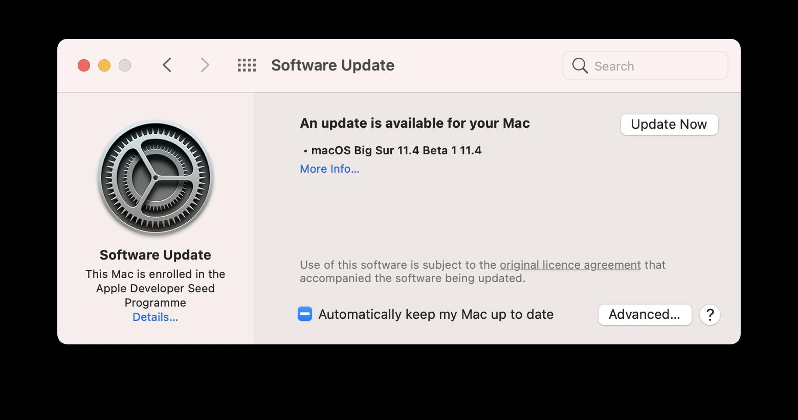 macOS update pane