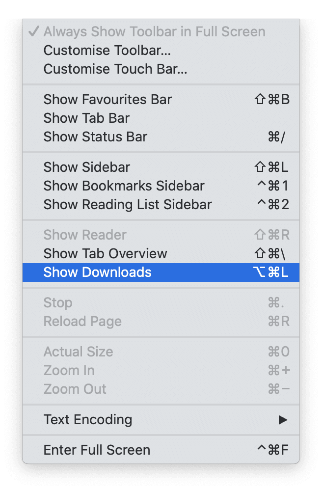 Delete downloads in Safari