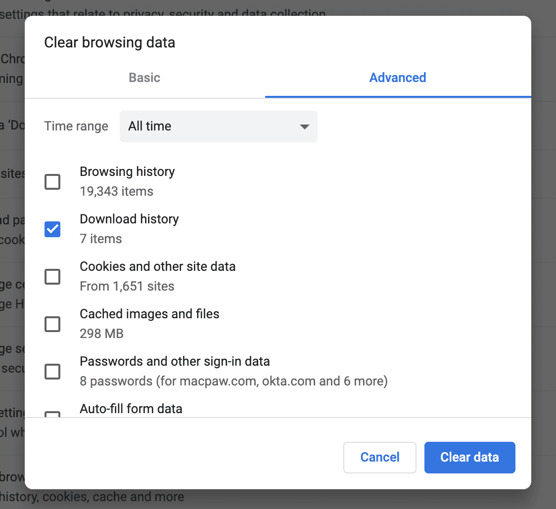 How to delete downloads history in Chrome
